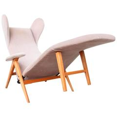 Original H.W. Klein Chaise Longue Chair in Teak and Fabric