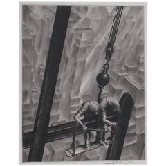 Original Etching by Samuel Margolies, Men of Steel