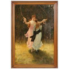 Original Oil on Canvas Painting of Two Girls Jumping Rope, Signed Phil Morris