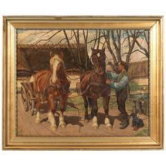 Original Oil on Canvas Painting Pair of Work Horses Pulling Cart Signed C. Hertz