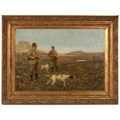 Large Original Oil on Canvas Painting of Two Hunters and Their Dogs, circa 1900s