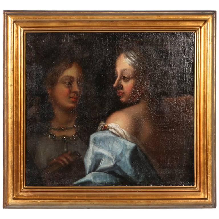 18th Century Italian Original Oil on Canvas Painting of Two Women in Gowns
