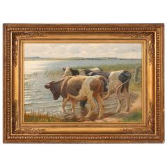 Original Oil on Canvas Painting of Cows on the Shore, 19th Century, Denmark