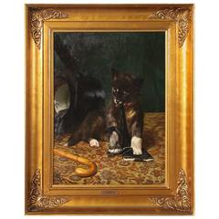 Original Oil on Canvas Painting, Dog Chewing a Gentleman's Glove, A. Mackeprang