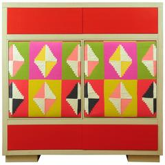 Modern Wood and Kilim Fabric Cabinet by Michelangeli, Italy