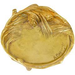 A. Marionnet French Art Nouveau Gilt Bronze Vide Poche