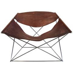 Pierre Paulin Butterfly Chair in Original Patinated Cognac Leather