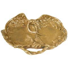 Antique French Art Nouveau Gilt Bronze Vide Poche by Sculptor André Villien