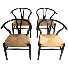 Authentic Set of Four Vintage Hans Wegner Wishbone Chairs CH24 Signed