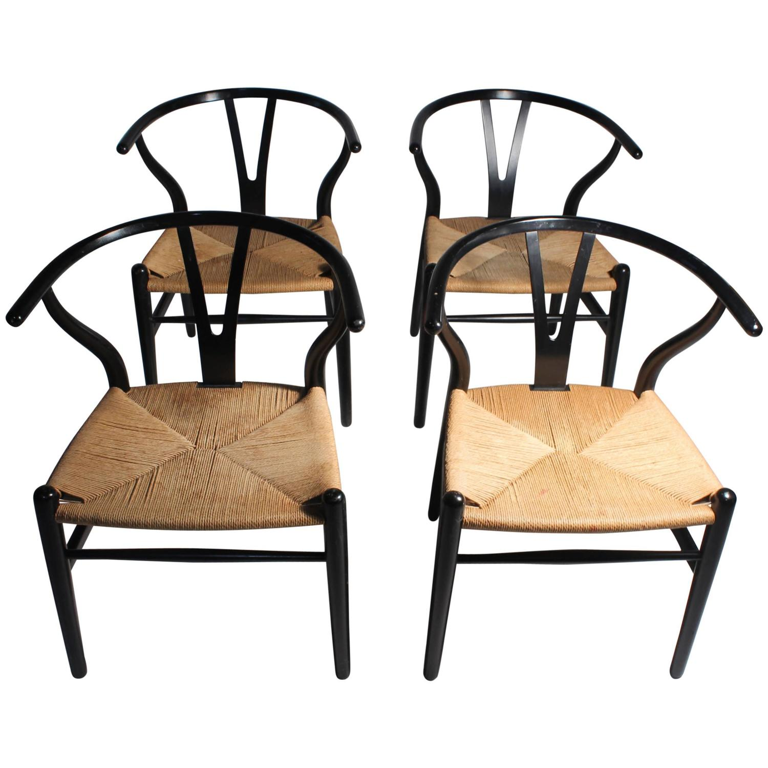 Authentic Set of Four Vintage Hans Wegner Wishbone Chairs CH24