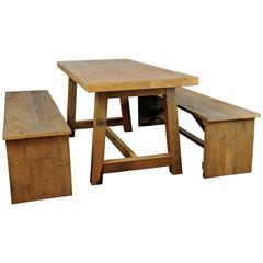 Solid Chestnut Wood Garden Table and Benches by Michelangeli, Italy