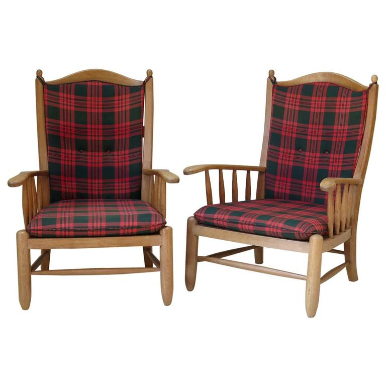 Set of Four Brushed Oak Armchairs, France, 1950s