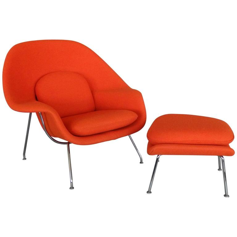 Classic eero saarinen knoll womb chair with ottoman for sale at 1stdibs - Vintage womb chair for sale ...