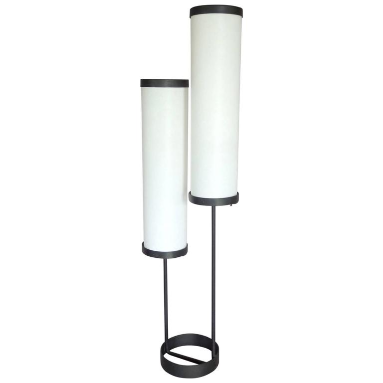 Large Ben Seibel Double Cylinder Architecturally Themed Wrought Iron Floor Lamp