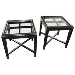 Pair of Vintage Ebonized Asian-Inspired Tables