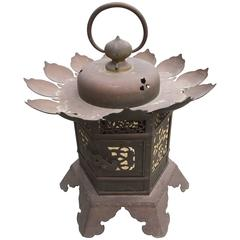 Japanese Lantern Handcrafted and Engraved Bronze, Lotus Temple