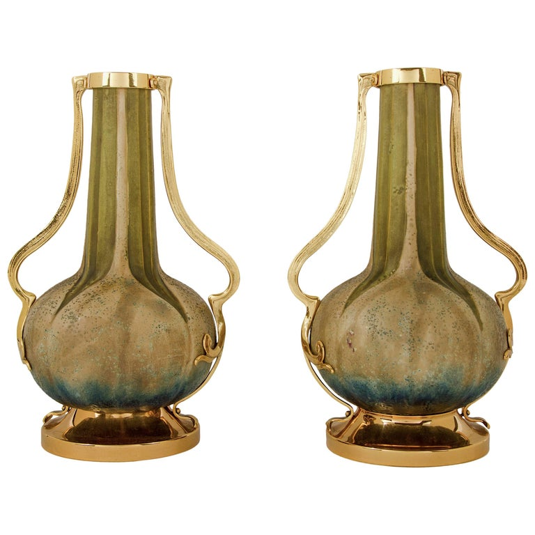 Austrian Amphora RStK Vase Pair with Gold Metal Mounts, Paul Dachsel Attr.  For Sale