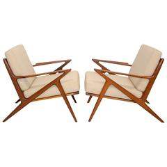 Pair of Danish Teak Z Lounge Chairs by Poul Jensen for Selig
