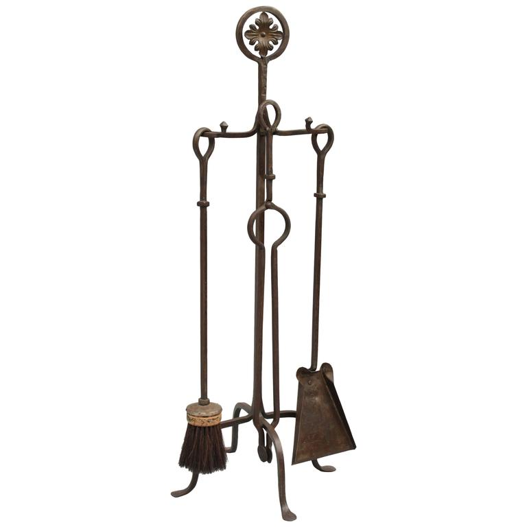 1920s Wrought Iron Fire Tool Set With Quality Ironwork At 1stdibs
