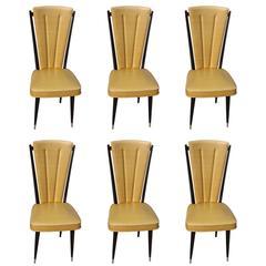 Set of Six French Art Deco Dark Walnut Dining Chairs, circa 1940s