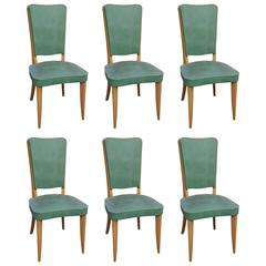 Set of Six French Art Deco Walnut Dining Chairs, circa 1940s
