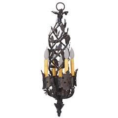 1920s Unique Narrow Wrought Iron Chandelier with Five Lights