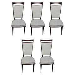 Set of Five French Art Deco Walnut Dining Chairs, circa 1940s
