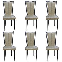 Set of Six French Art Deco Ebonized Dining Chairs, circa 1940s