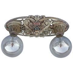 1920s Antique Two-Light Ceiling Mount