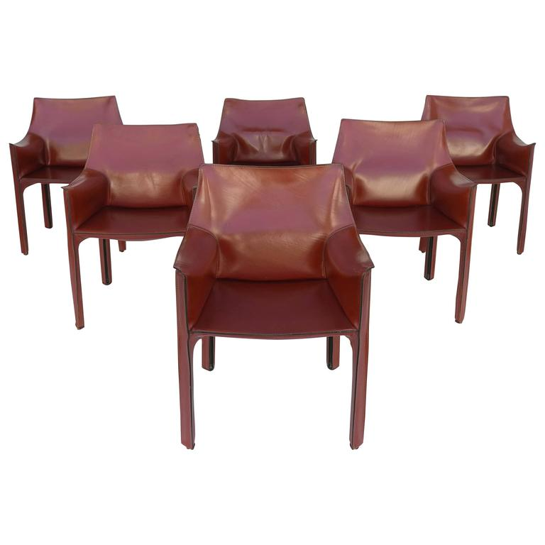 Mario Bellini Leather Cab Chairs By Cassina, Italy For Sale