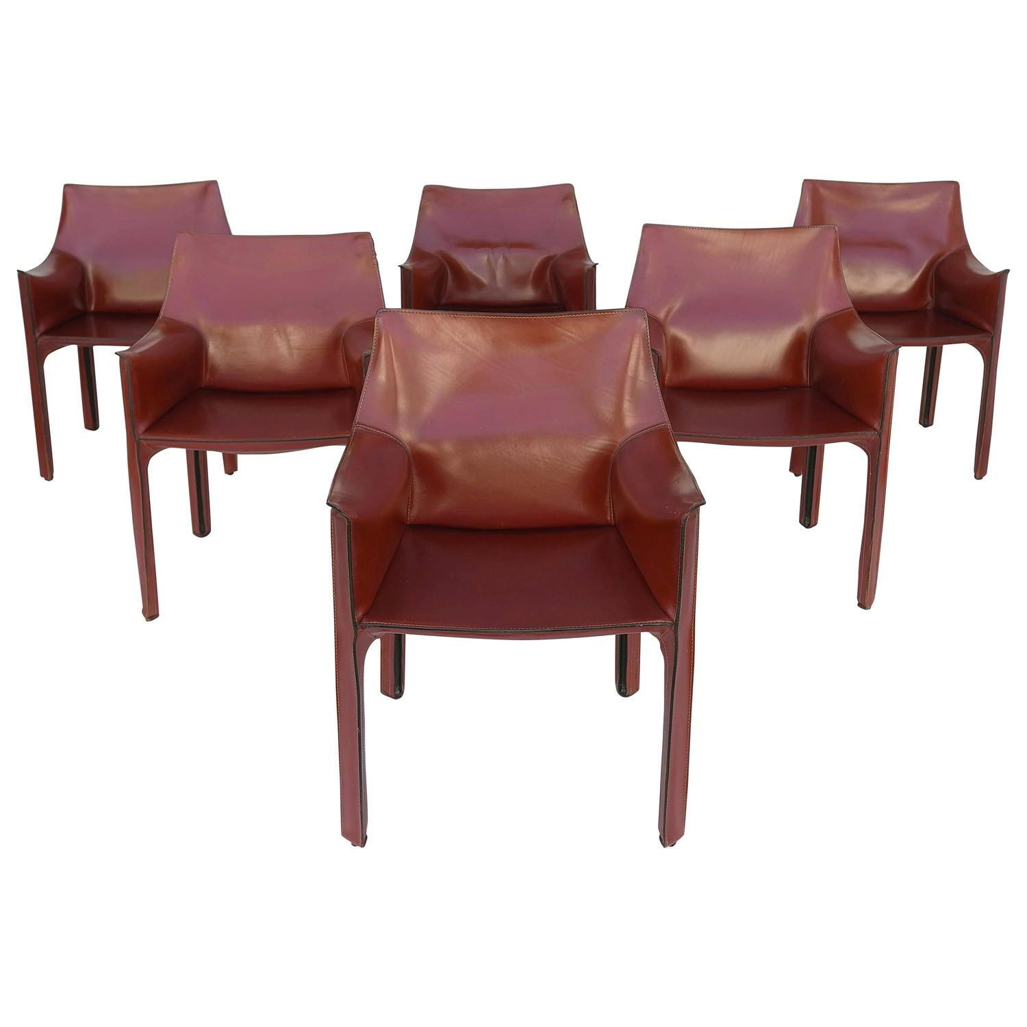 Mario Bellini Leather Cab Chairs by Cassina Italy For Sale at 1stdibs