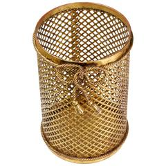 Mid Century 1950s Hollywood Regency Italian Gilt/Gold Plated Waste Paper Basket