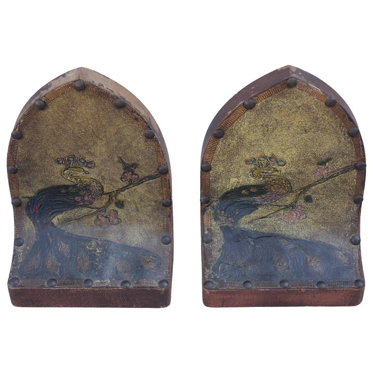 1920s Hand Painted Leather And Wood Peacock Bookends At 1stdibs