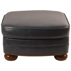 Gunmetal Leather Ottoman or Stool by Schafer Brothers