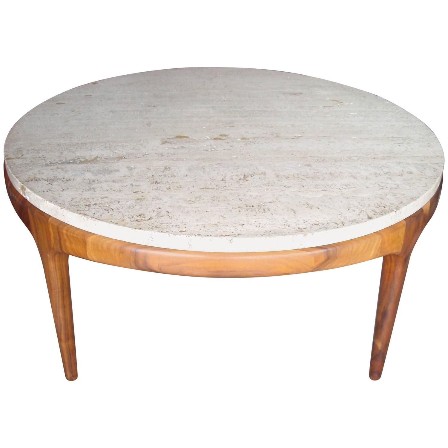 Marble Or Travertine Top Side Or Coffee Cocktail Table And Walnut
