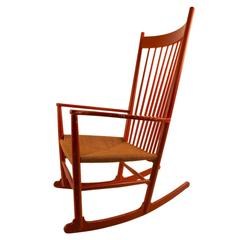 Vintage Wegner J 16 Rocker in Red Paint Finish