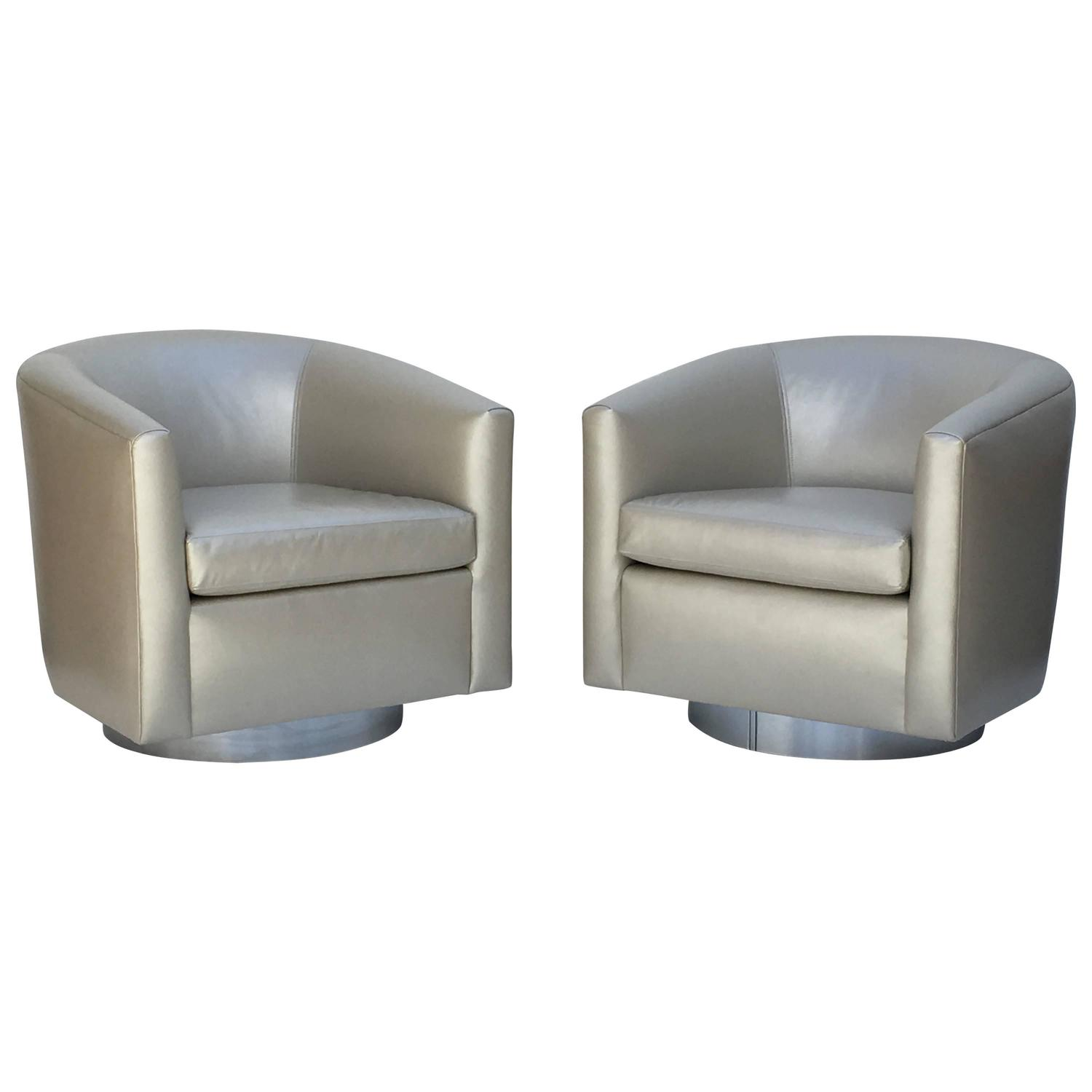 Chrome and Leather Swivel Chairs by Martin Brattrud for