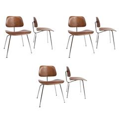 Set of Six Early Charles Eames, Evans Labeled Molded Plywood Dining Chairs