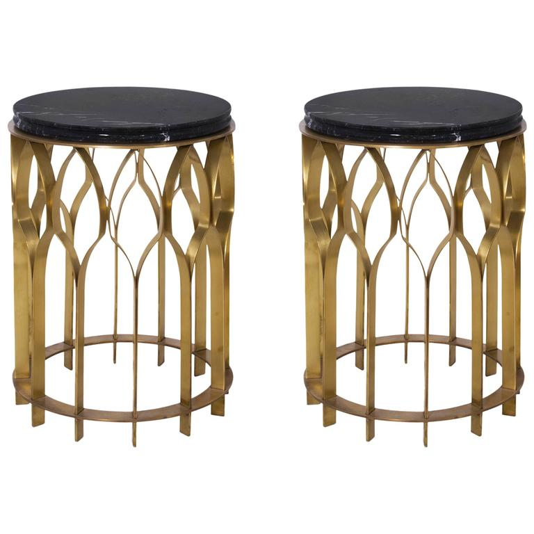 Pair Of Brass And Black Marble Side Table From Europe 1