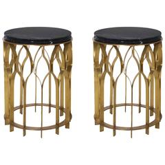Pair of Brass and Black Marble Side Table from Europe