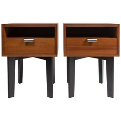 Pair of George Nelson Walnut J Pull Bedside Tables, Mfg. Herman Miller