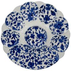 19th Century Minton Flow Blue Floral Transferware Oyster Plate