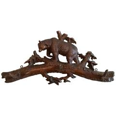 Black Forest Carved Walnut Hat and Coat Rack