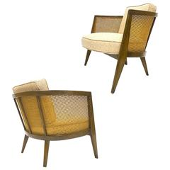 Rare Pair of Harvey Probber Cane Barrel Back Lounge Chairs Excellent Condition
