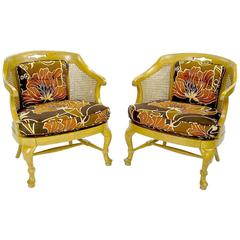 Pair of 1940s Cane-Back Regency Style Bergeres