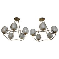 1950s Modern Brass and Glass Chandeliers by Lightolier