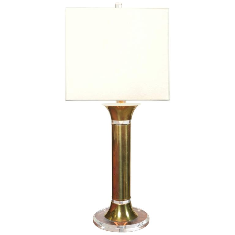 Contemporary Bauer Brass and Lucite Lamp