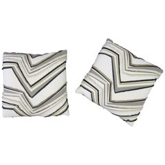 Pair of Custom Upholstered White Black and Gold Accent Pillows