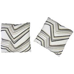 Set of Custom Upholstered White Black and Gold Accent Pillows