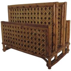 1970s Vintage Bamboo and Rattan Letter Holder or Desk Organizer